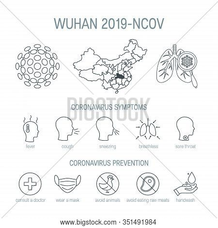 Wuhan 2019-ncov Icons In Linear Style, Vector