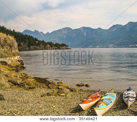 Beached Sea Kayaks on Bowen Island