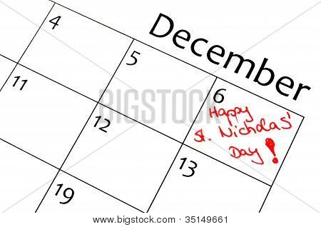 calendar marking the xmas days in red letter poster