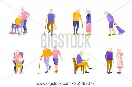 Retirees Way Of Life, Flat Vector Illustration Set. Old Men And Women In A Nursing Home. Grey-haired