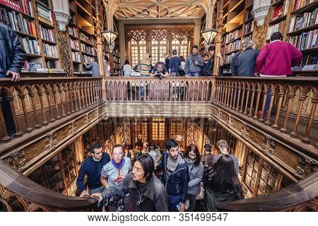 Porto, Portugal - November 13, 2017: People Visits Lello Bookstore In Porto, Considered To Be One Of