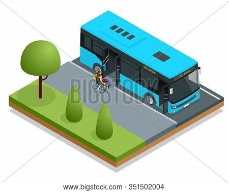 Isometric City Bus At A Bus Stop. Woman In A Wheelchair Leaves The Bus. Access Ramp For Disabled Per