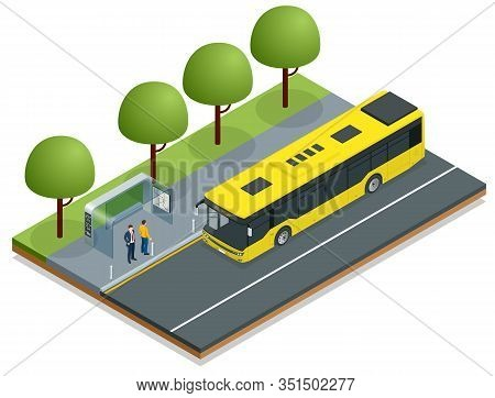Isometric Yellow City Bus At A Bus Stop. People Get In And Out Of The Bus. Public Transport With Dri