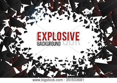 Creative Vector Illustration Of Crack Explosion Background. Art Design Debris Banner Template. Abstr