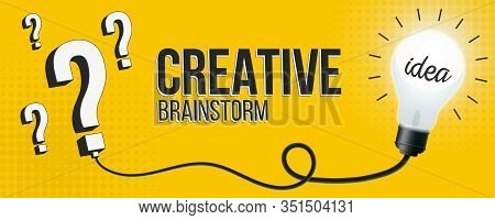 Creative Vector Brainstorm, Lightbulb, Question, Quiz, Lamp Illustration Background. Art Design Idea