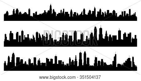 Creative Vector Illustration Of City Silhouette, Skyline, Cityscape, Skyscraper Isolated On Backgrou