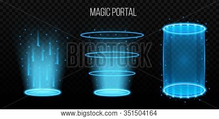 Creative Vector Illustration Of Magic Portals, Hologram Teleport, Space Tunnel Isolated On Transpare