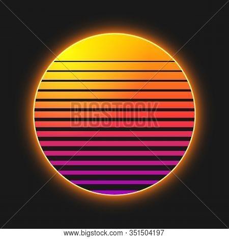 Creative Vector Illustration Of Retro Sunset Isolated On Background. Art Design Synthwave, Futuristi