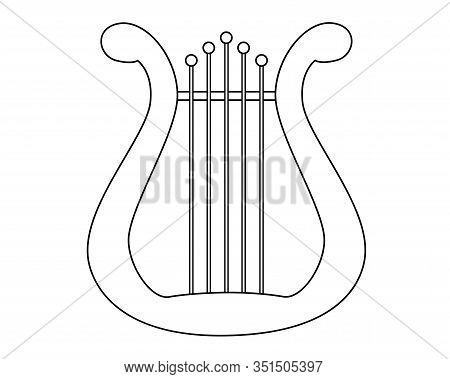 Lyra - Musical Instrument - Vector Linear Picture For Coloring. Outline. Lyra Or Harp Is A Symbol Of
