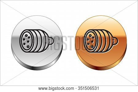 Black Line Salami Sausage Icon Isolated On White Background. Meat Delicatessen Product. Silver-gold