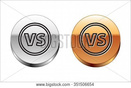 Black Line Vs Versus Battle Icon Isolated On White Background. Competition Vs Match Game, Martial Ba