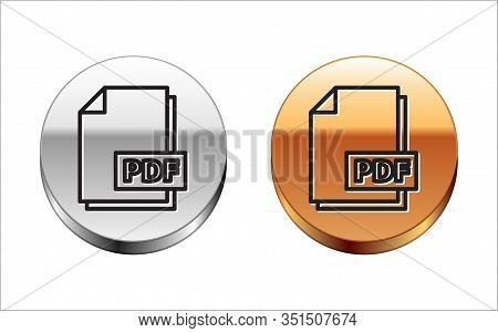 Black Line Pdf File Document. Download Pdf Button Icon Isolated On White Background. Pdf File Symbol