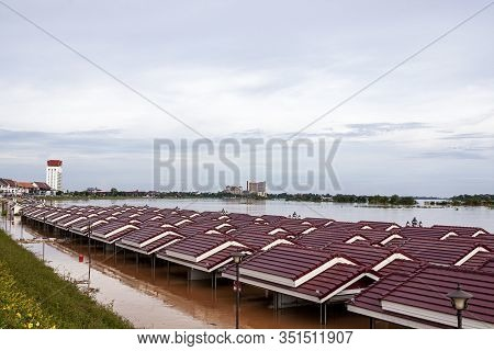 Vientiane City Laos Monsoon Flooded Damage Catastrophe Muddy Climate