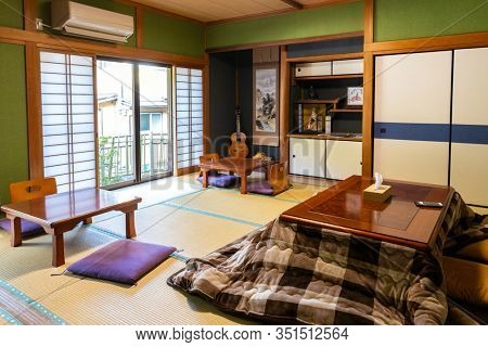 YUNOMINE OSEN, JAPAN, March 23, 2019 : Cozy interior of a traditional Ryoken guesthouse in the Yunomine Osen village, pilgrimage road of Kumano Kodo.