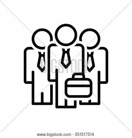 Black Line Icon For Businessman-team Gathering  Organization Tandem Troupe Lineup Aggregation Unity