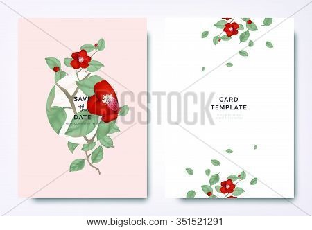 Botanical Wedding Invitation Card Template Design, Red Japanese Camellia Flowers And Leaves With Cir