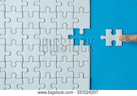 Woman Hands Putting Jigsaw Puzzles,jigsaw White Color,puzzles Pieces Grid,success Mosaic Solution Te