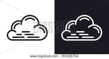 Cloudy, Cloudiness Or Overcast Icon For Weather Forecast Application Or Widget. Cloud Closeup. Two-t