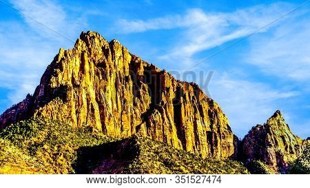 The Watchman Peak At Sunset In Zion National Park, Utah, United States