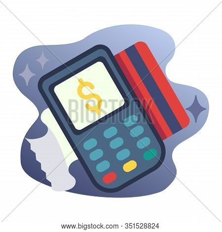 Pos Terminal And Credit Card Flat Icon, Payment Transaction Vector Sign, Payment Terminal With Bank