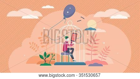 Lost Childhood Concept, Flat Tiny Person Vector Illustration. Lonely Kid Inside The Cage Of The Digi
