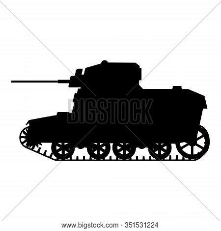 Silhouette Tank American World War 2 M3 Stuart Light Tank Icon. Military Army Machine War, Weapon, B