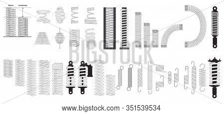 A Big Set Of Steel Metal Spring Coil Design Elements. Coil Spring Cable Icons Set. Outline Coil Spri