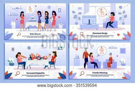 Baby Shower Celebration, Pregnant Woman Family Support, Hormone Surge Trendy Flat Vector Banner, Pos