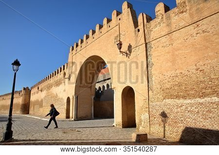 Kairouan, Tunisia - December 12, 2019: Entrance Gate To Kairouan (eastern Side Of The City), With Im