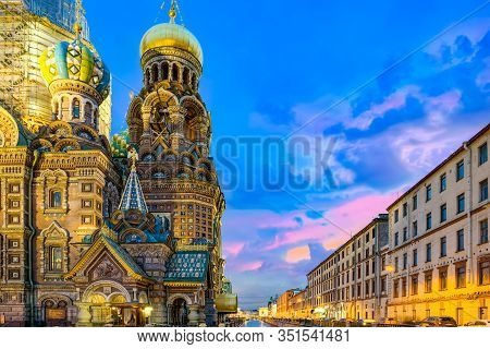 Gribobedov's Canal. Cathedral Of The Savior On Spilled Blood. Saint Petersburg. Russia.