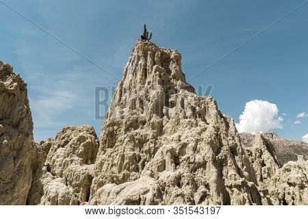 Sand Stone Landscape From Famous Valle De La Luna In La Paz, Bolivia