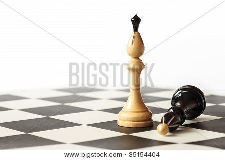 Detail Of Black And White Kings On Chessboard