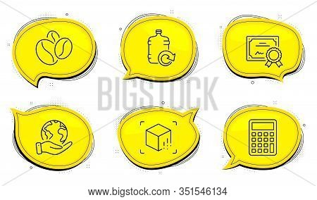 Calculator Sign. Diploma Certificate, Save Planet Chat Bubbles. Coffee Beans, Refill Water And Augme