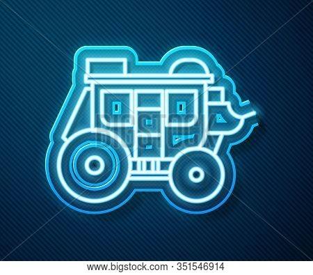 Glowing Neon Line Western Stagecoach Icon Isolated On Blue Background. Vector Illustration