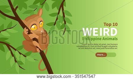Phillipine Travel Isometric Poster With Top Weird Animals Vector Illustration