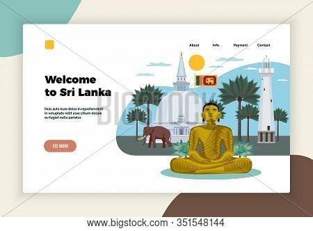 Sri Lanka Tourism Concept Landing Page Horizontal Banner With Meditation Retreat Statue Elephant Tem