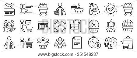 Contactless Payment Card, Shopping Cart And Group Of People. Buyer Customer Line Icons. Store, Buyer