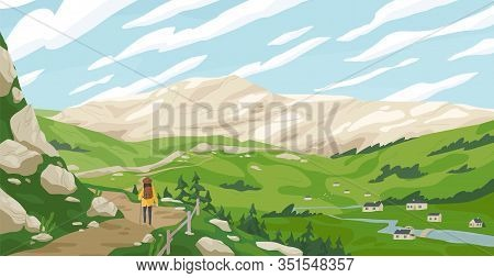 Active Tourist Woman Walking On Path Admiring Mountain Landscape Vector Graphic Illustration. Travel