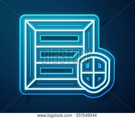 Glowing Neon Line Delivery Pack Security With Shield Icon Isolated On Blue Background. Delivery Insu