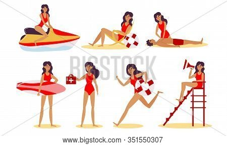 Young Pretty Women Beach Lifeguards In Red Swimsuites Vector Illustration