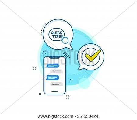 Helpful Tricks Sign. Phone Messages Complex Icon. Quick Tips Click Line Icon. Messenger Chat Screen