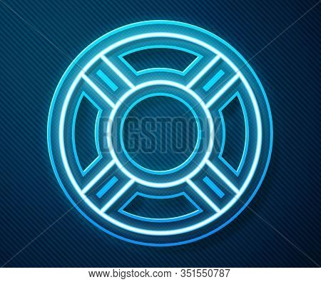 Glowing Neon Line Lifebuoy Icon Isolated On Blue Background. Life Saving Floating Lifebuoy For Beach