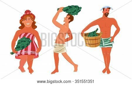 Set Of Naked People Enjoying Bathhouse With Brooms Vector Illustration