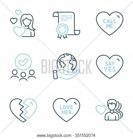 Love, Man Love And Break Up Line Icons Set. Diploma Certificate, Save Planet, Group Of People. Say Y