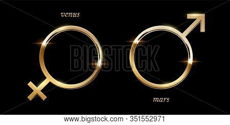 Golden Male And Female Symbol Vector Illustration. Luxury Sparkling Round Frames Isolated On Black B