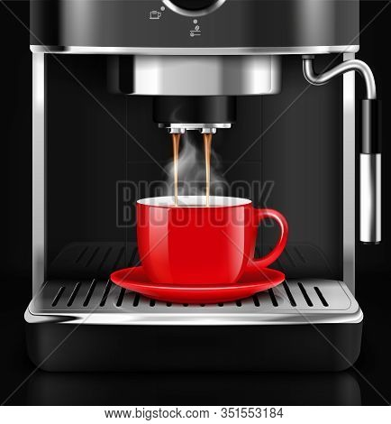Coffee Machine With Cup Realistic Composition With Front View And Steamy Plumes Of Hot Liquid Drink