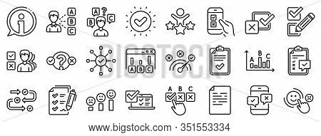 Opinion, Customer Satisfaction Feedback And Test Icons. Survey, Report Review Line Icons. Checklist