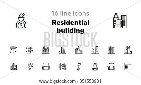 Residential Building Icons. Set Of Line Icons. Key, Residential District, Cityscape. Housing Develop
