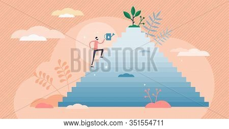 Zeal Concept, Flat Tiny Person Vector Illustration. Enthusiastic Determination On The Way To Success