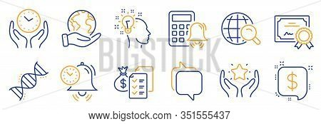 Set Of Education Icons, Such As Idea, Payment Message. Certificate, Save Planet. Accounting Wealth,